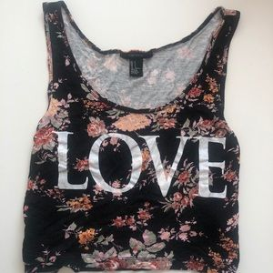 Tops - Black Floral Loose Fitted LOVE Tank Top